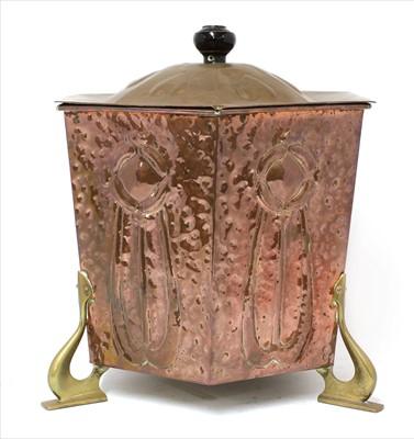 Lot 91 - An Arts & Crafts hexagonal copper log bin