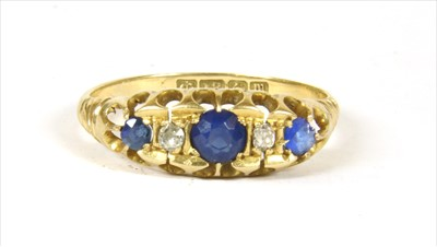 Lot 8-An 18ct gold sapphire and diamond ring