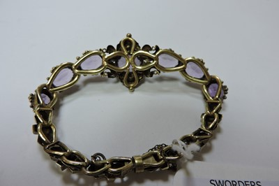 Lot 24-A Victorian gold amethyst bracelet, c.1850