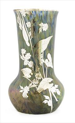 Lot 86 - A Loetz silver overlay glass vase