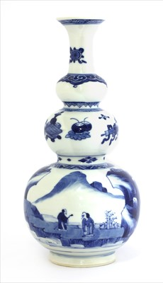 Lot 7-A Chinese blue and white triple gourd vase