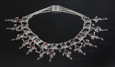 Lot 15-A Victorian silver garnet fringe necklace