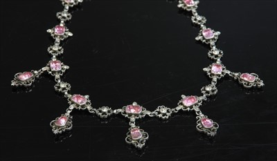 Lot 5-A Georgian silver, pink and white paste fringe necklace