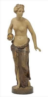 Lot 78 - A Goldscheider painted terracotta figure of a girl holding a ball