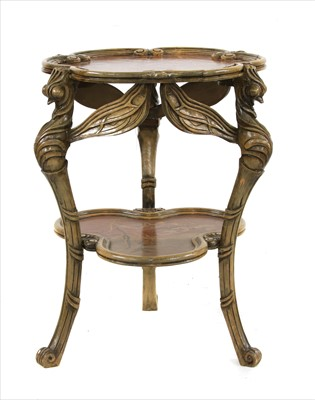 Lot 29-An Art Nouveau-style inlaid two tier side table