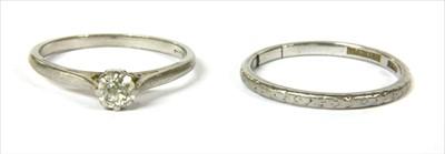 Lot 11-A platinum single stone diamond ring