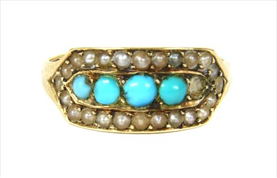 Lot 12-A Victorian gold turquoise and split pearl ring