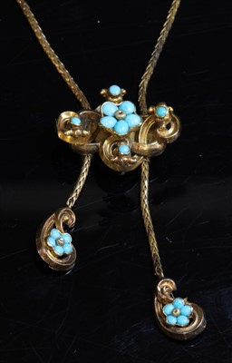 Lot 25-A Victorian gold turquoise forget-me-not lariat necklace, c.1840