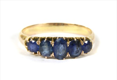 Lot 9-A gold five stone sapphire ring