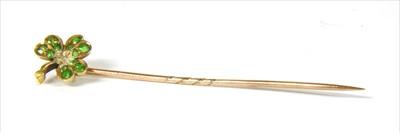 Lot 16-A gold demantoid garnet shamrock stick pin
