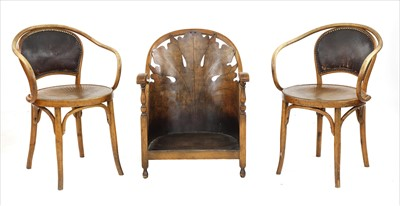 Lot 75 - A pair of bentwood armchairs