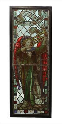 Lot 12 - A stained glass panel of the Archangel Gabriel
