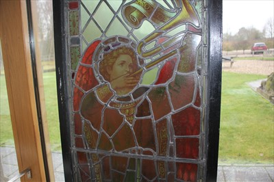 Lot 12-A stained glass panel of the Archangel Gabriel
