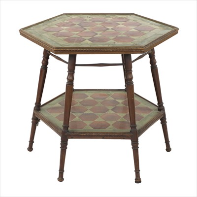 Lot 15 - A mahogany and tile top hexagonal table