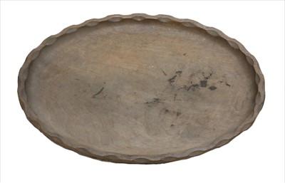 Lot 243 - A walnut oval tray
