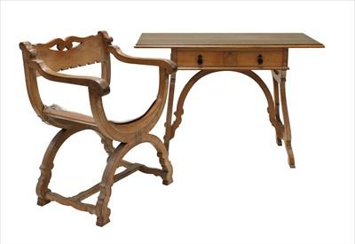 Lot 226 - An oak throne chair