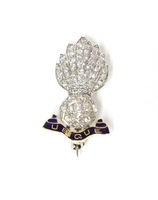 Lot 173 - A gold and platinum, diamond and enamel Royal Artillery military sweetheart brooch