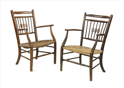 Lot 73 - Two Arts & Crafts rush-seated armchairs
