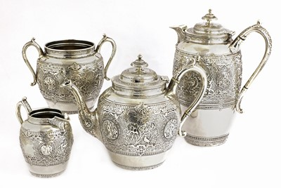 Lot 66 - A Scottish silver four-piece tea set