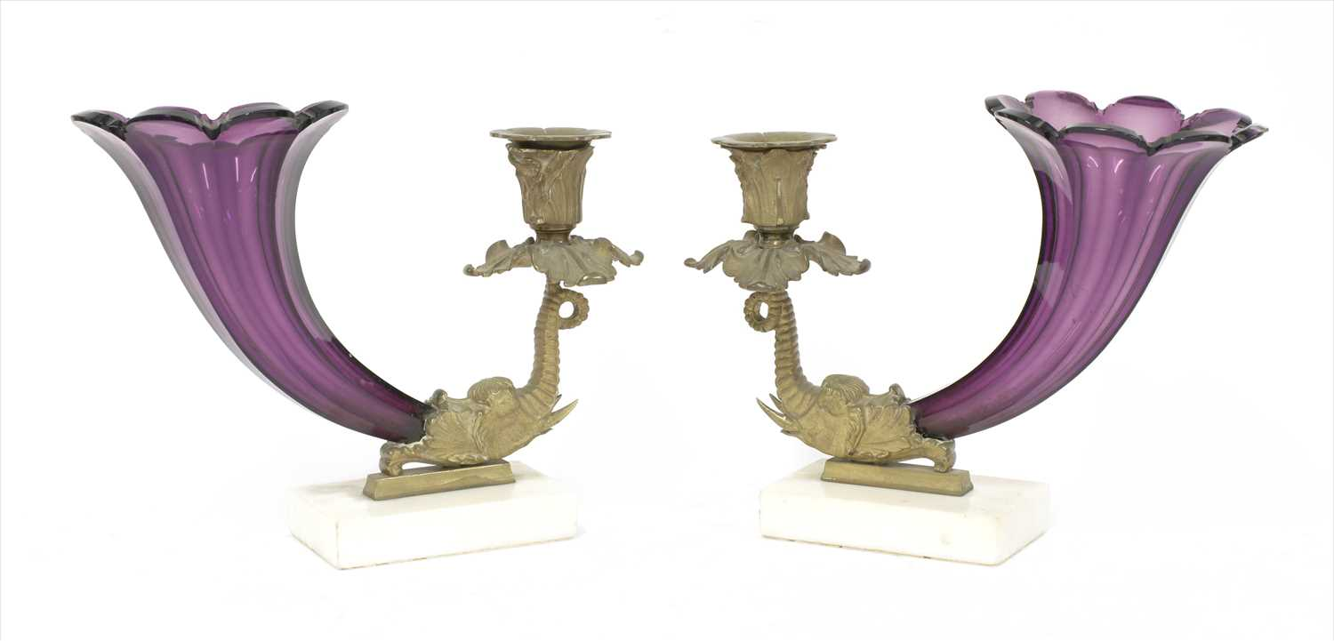 Lot 23-A pair of amethyst glass vases