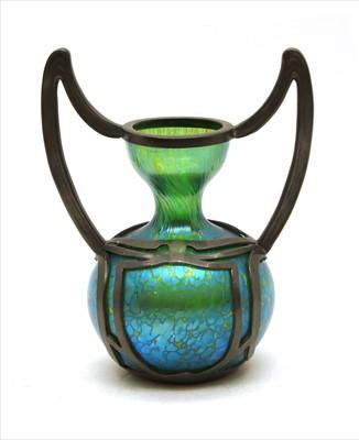 Lot 85 - A Loetz pewter-mounted vase