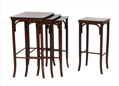 Lot 42-A nest of four bentwood tables