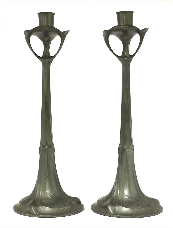 Lot 23-A pair of Kayserzinn pewter candlesticks