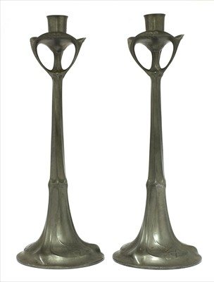 Lot 23-A pair of Kayserzinn pewter candlesticks