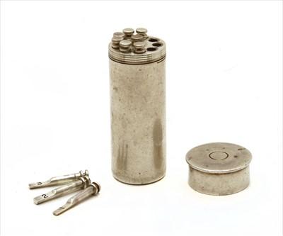 Lot 75 - A silver shooting peg drawer, butt marker