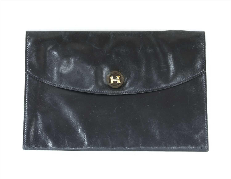 Lot 1009-A vintage Hermès blue Courchevel Rio clutch bag