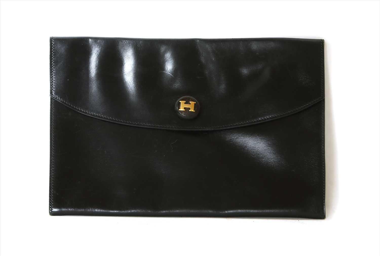 Lot 1008-A vintage Hermès black Courchevel Rio clutch bag