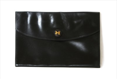 Lot 1008-A vintage Hermès black Courchevel Rio clutch bag