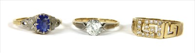 Lot 17-A gold single stone cubic zirconia ring