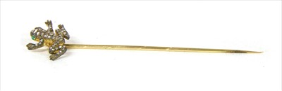 Lot 15-A Continental gold, diamond and emerald set frog stickpin
