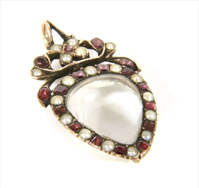 Lot 1-A Georgian gold flat cut garnet and split pearl glazed locket pendant, c.1790