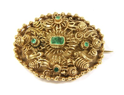 Lot 9-A gold emerald oval cannetille brooch