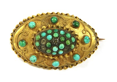 Lot 12-A Victorian Etruscan Revival style gold turquoise brooch