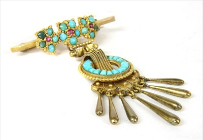 Lot 11-A gold ruby and turquoise brooch