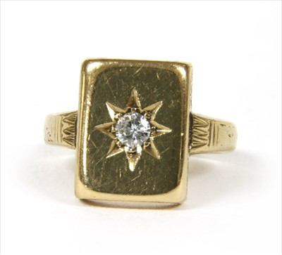 Lot 3-A 9ct gold diamond signet ring