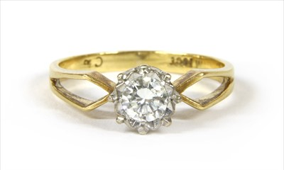 Lot 20-A gold single stone diamond ring