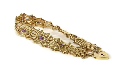 Lot 13-A 9ct gold amethyst five row gate bracelet