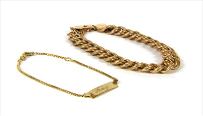 Lot 14-A 9ct gold hollow double curb link bracelet