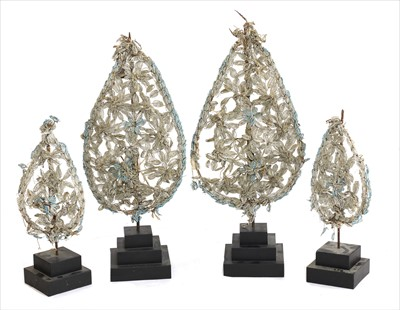 Lot 44-A set of four Italian processional beadwork panels