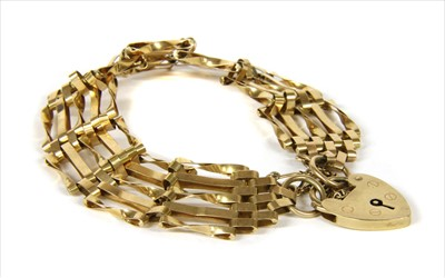 Lot 12-A 9ct gold five row gate bracelet