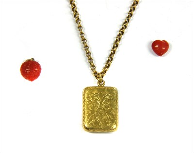 Lot 4-A 15ct gold rectangular locket