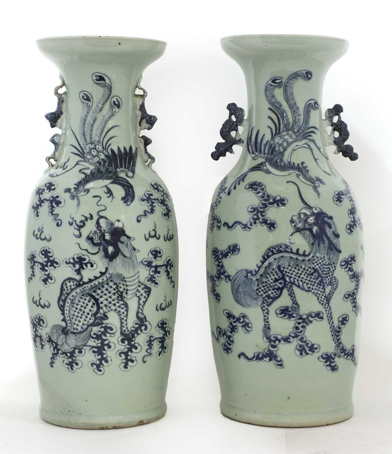 Lot 23-Two Chinese blue and white vases