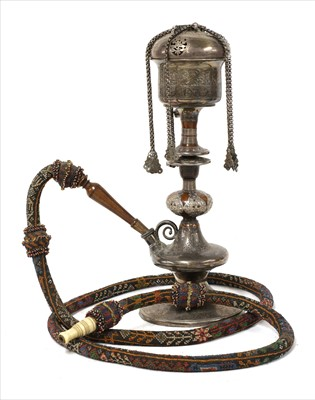 Lot 188-A fine Persian white metal and turned wood water pipe