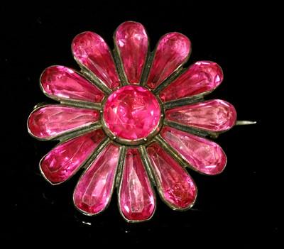 Lot 3-A Georgian silver, pink foil-backed paste flower head brooch