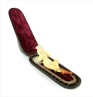 Lot 168-An erotic meerschaum combined cheroot holder and pipe