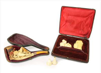 Lot 167-A pipe and two erotic meerschaum cheroot holders